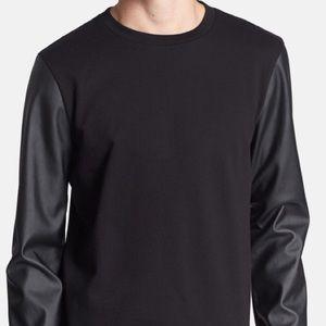Topman Shirts - Topman L Black Faux Leather Sleeve Crew Sweatshirt